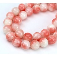 Coral and White Multicolor Jade Beads, 10mm Round