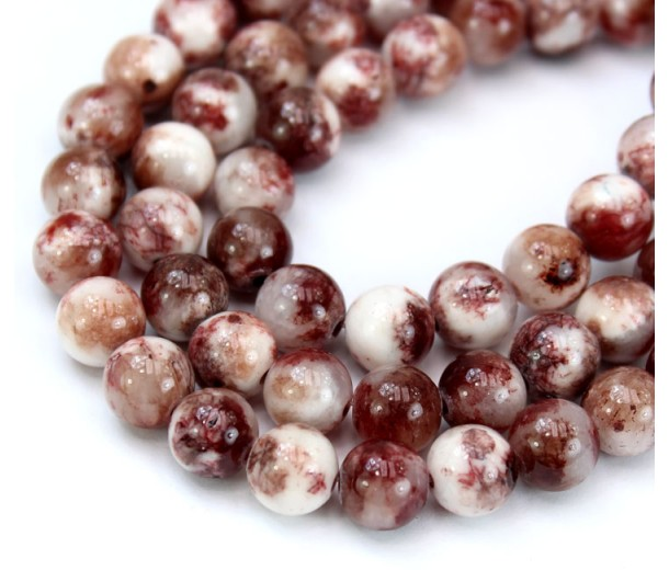 Brown and White Multicolor Jade Beads, 8mm Round