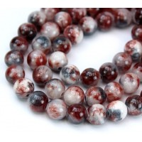 Maroon and Grey Multicolor Jade Beads, 8mm Round