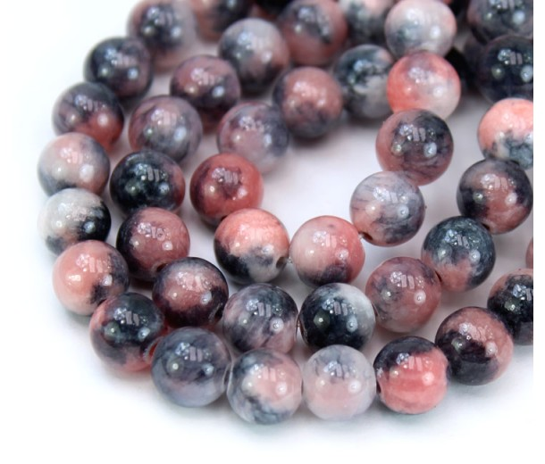 Grey and Coral Multicolor Jade Beads, 8mm Round