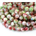 Papaver Field Mix Multicolor Jade Beads, 8mm Round