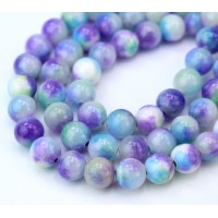 Hydrangea Mix Multicolor Jade Beads, 8mm Round