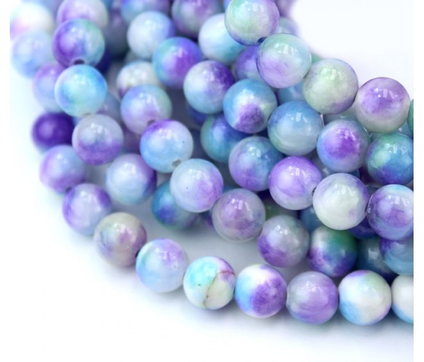 Hydrangea Mix Multicolor Jade Beads, 8mm Round