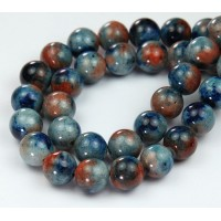 Blue & Orange Multicolor Jade Beads, 10mm Round