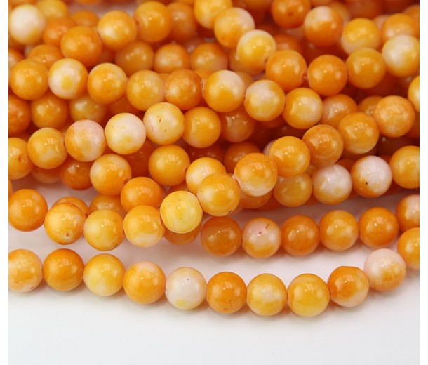 Yellow and White Multicolor Jade Beads, 8mm Round
