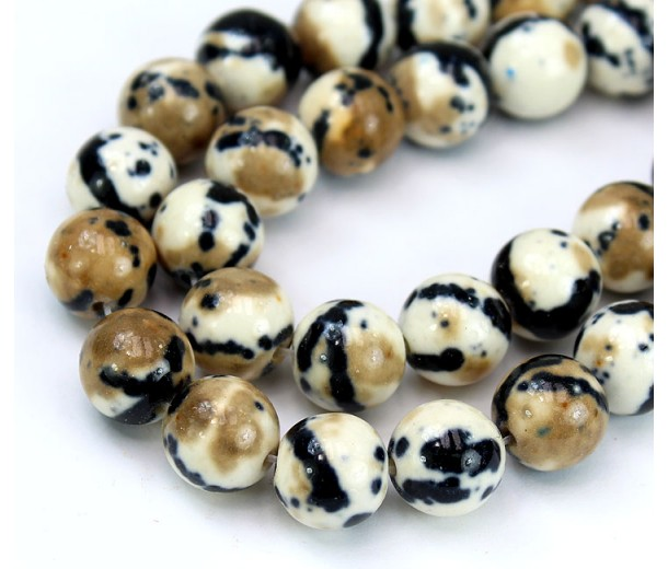 Ocelot Print Multicolor Jade Beads, 10mm Round