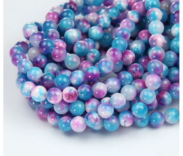 Blue and Purple Multicolor Jade Beads, 6mm Round