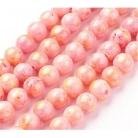 Light Coral with Gold Paint Mountain Jade Beads, 8mm Round