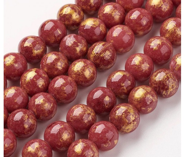 Maroon with Gold Paint Mountain Jade Beads, 8mm Round