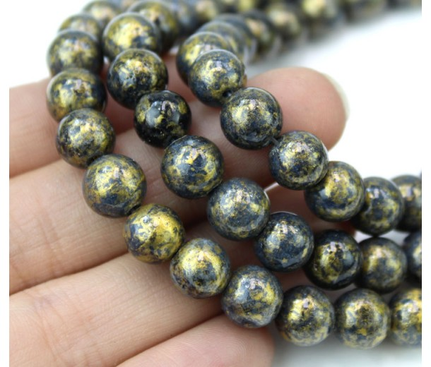 Anthracite with Gold Paint Mountain Jade Beads, 8mm Round