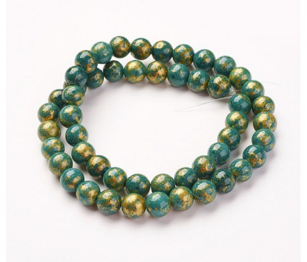 Green with Gold Paint Mountain Jade Beads, 8mm Round
