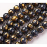Black with Gold Paint Mountain Jade Beads, 8mm Round