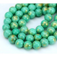 -Teal with Gold Paint Mountain Jade Beads, 8mm Round