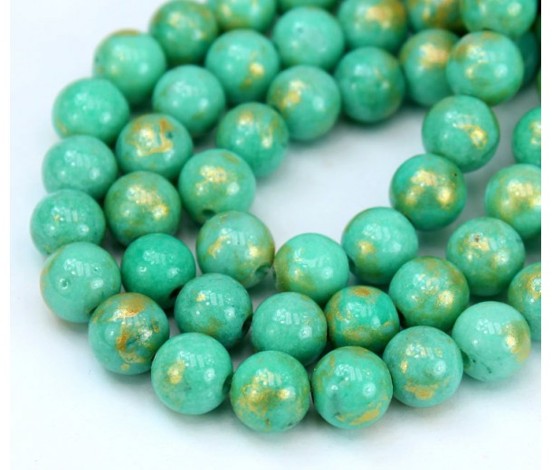 Teal with Gold Paint Mountain Jade Beads, 8mm Round