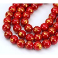 Bright Red with Gold Paint Mountain Jade Beads, 10mm Round
