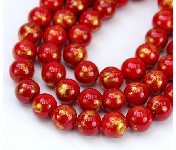 Bright Red with Gold Paint Mountain Jade Beads, 6mm Round