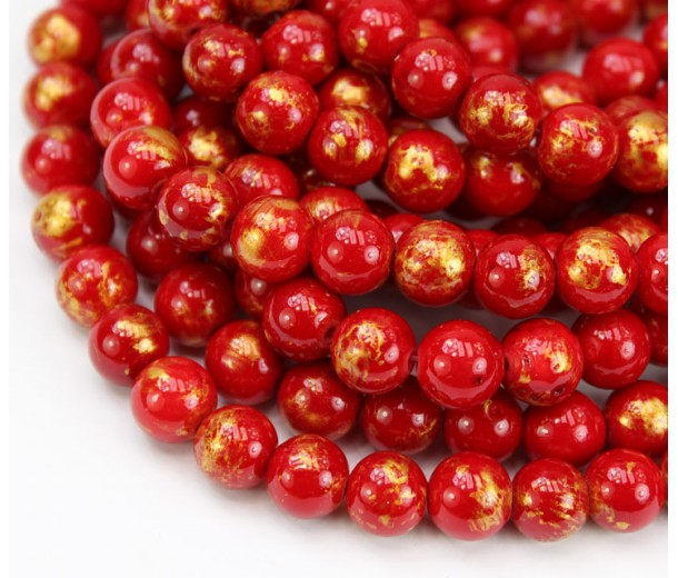 Bright Red with Gold Paint Mountain Jade Beads, 8mm Round