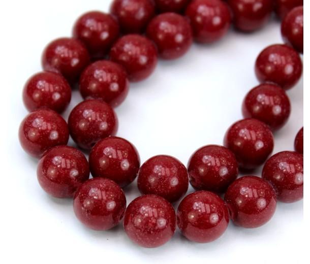 Maroon Red Mountain Jade Beads, 10mm Round