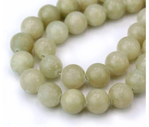 Green Beige Mountain Jade Beads, 10mm Round