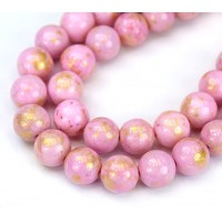 Rose Pink with Gold Paint Mountain Jade Beads, 10mm Round