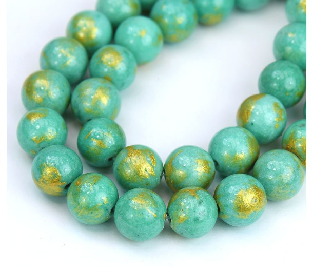 Teal with Gold Paint Mountain Jade Beads, 10mm Round