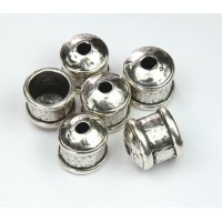 12mm Hammered End Caps by JBB Findings, Antique Silver, Pack of 2