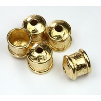 12mm Hammered End Caps by JBB Findings, Gold Plated, Pack of 2