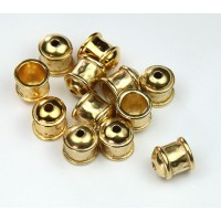 8mm Hammered End Caps by JBB Findings, Gold Plated, Pack of 2