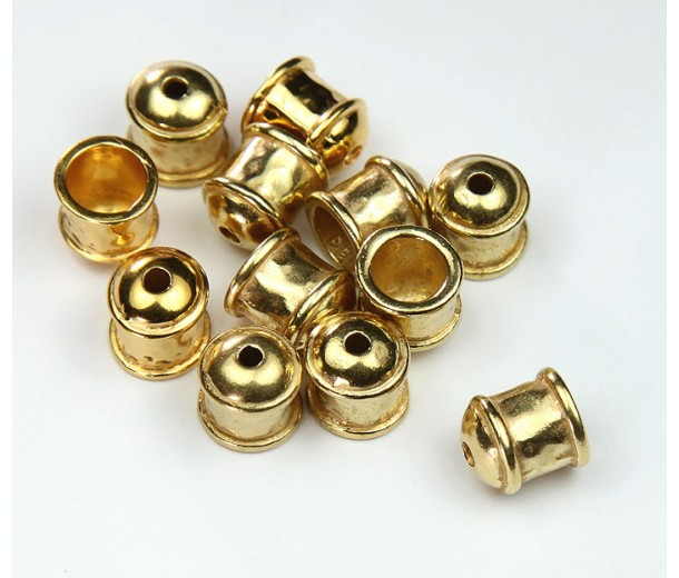 8mm Hammered End Cap by JBB Findings, Gold Plated