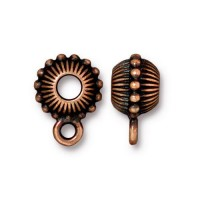 11mm Beaded Large Hole Bail by TierraCast, Antique Copper, 1 Piece