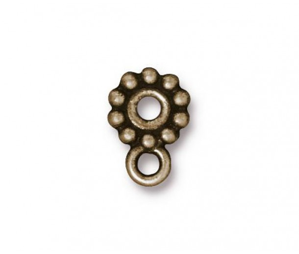 10mm Heishi Beaded Spacer with Loop by TierraCast, Brass Oxide