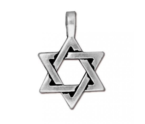 25mm Classic Star of David Charm by Tierracast, Antique Silver
