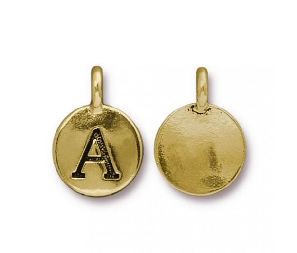 16mm Letter A Charm by TierraCast, Antique Gold, 1 Piece