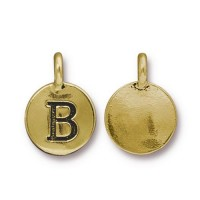 16mm Letter B Charm by TierraCast, Antique Gold, 1 Piece