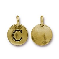 16mm Letter C Charm by TierraCast, Antique Gold, 1 Piece