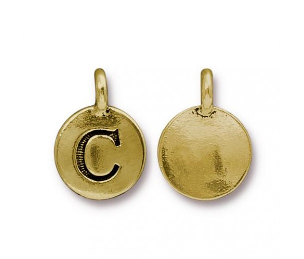 16mm Letter C Charm by TierraCast, Antique Gold