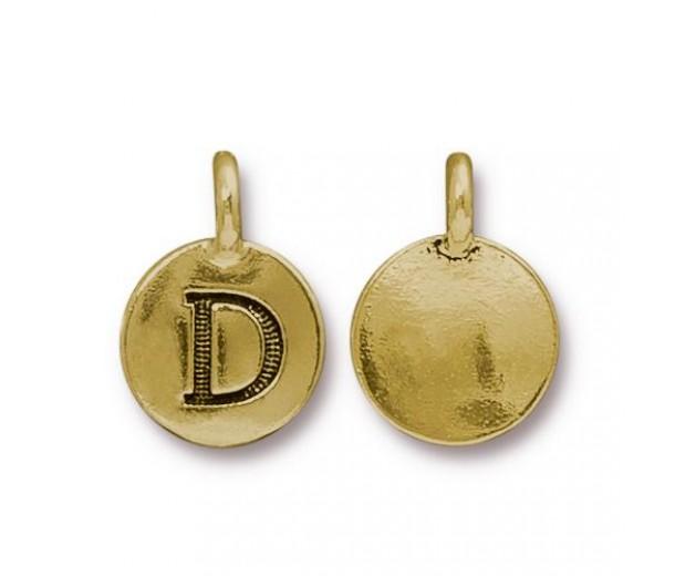 16mm Letter D Charm by TierraCast, Antique Gold, 1 Piece