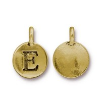 16mm Letter E Charm by TierraCast, Antique Gold