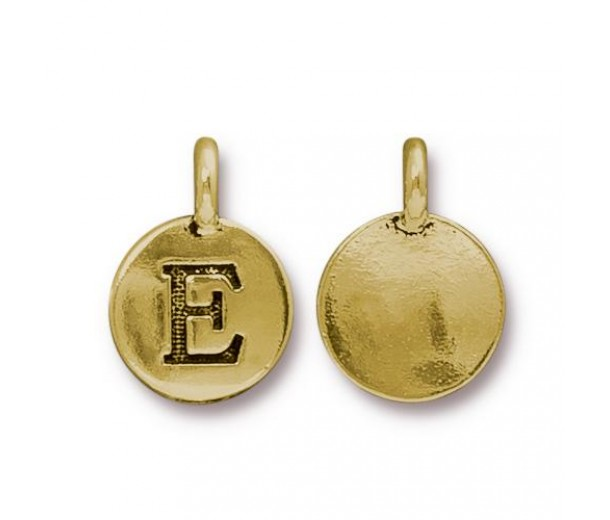 16mm Letter E Charm by TierraCast, Antique Gold, 1 Piece