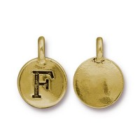 16mm Letter F Charm by TierraCast, Antique Gold, 1 Piece