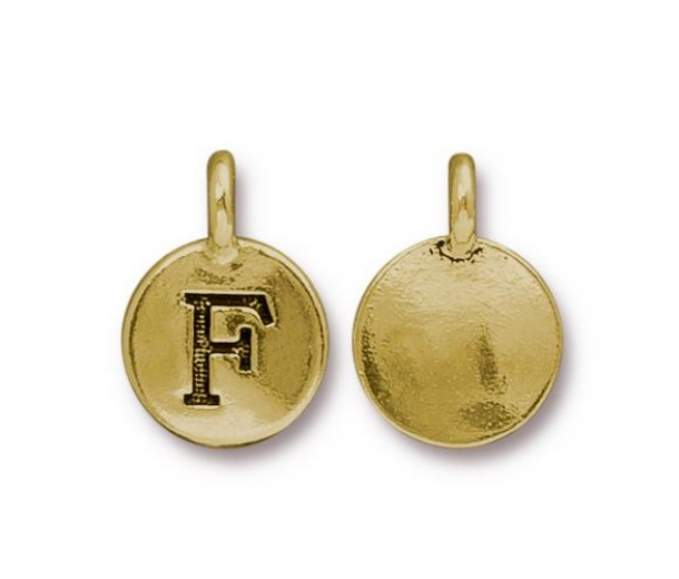 16mm Letter F Charm by TierraCast, Antique Gold