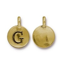 16mm Letter G Charm by TierraCast, Antique Gold