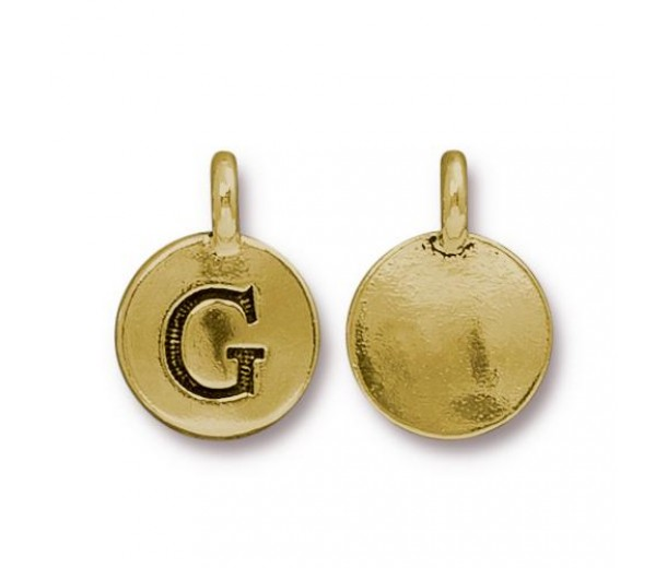 16mm Letter G Charm by TierraCast, Antique Gold, 1 Piece