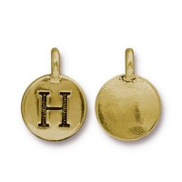 16mm Letter H Charm by TierraCast, Antique Gold