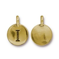 16mm Letter I Charm by TierraCast, Antique Gold