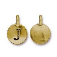 16mm Letter J Charm by TierraCast, Antique Gold
