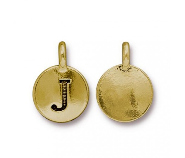 16mm Letter J Charm by TierraCast, Antique Gold, 1 Piece