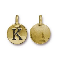 16mm Letter K Charm by TierraCast, Antique Gold, 1 Piece