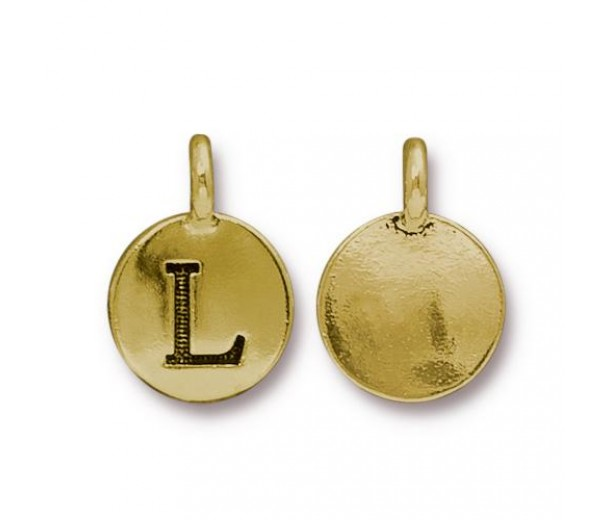16mm Letter L Charm by TierraCast, Antique Gold, 1 Piece