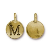 16mm Letter M Charm by TierraCast, Antique Gold, 1 Piece